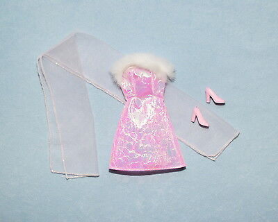 SHIMMERING Frosty Pink & Purple Genuine BARBIE Dress w/ Heels Faux Trim & Wrap