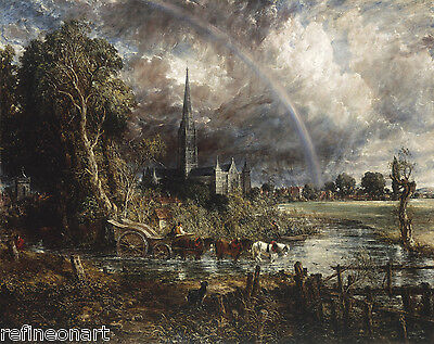 Salisbury Cathedral from the Meadows by John Constable Canvas (John Constable Salisbury Cathedral From The Meadows)