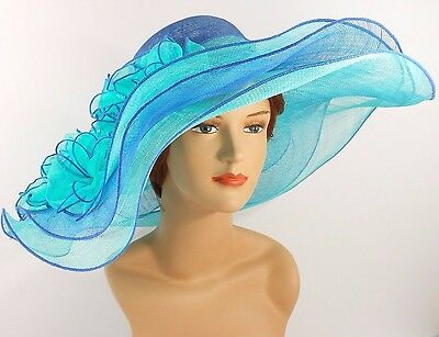 Church Kentucky Derby Wedding Sinamay Wide Brim Dress Hat 2974 Royal & Turquoise