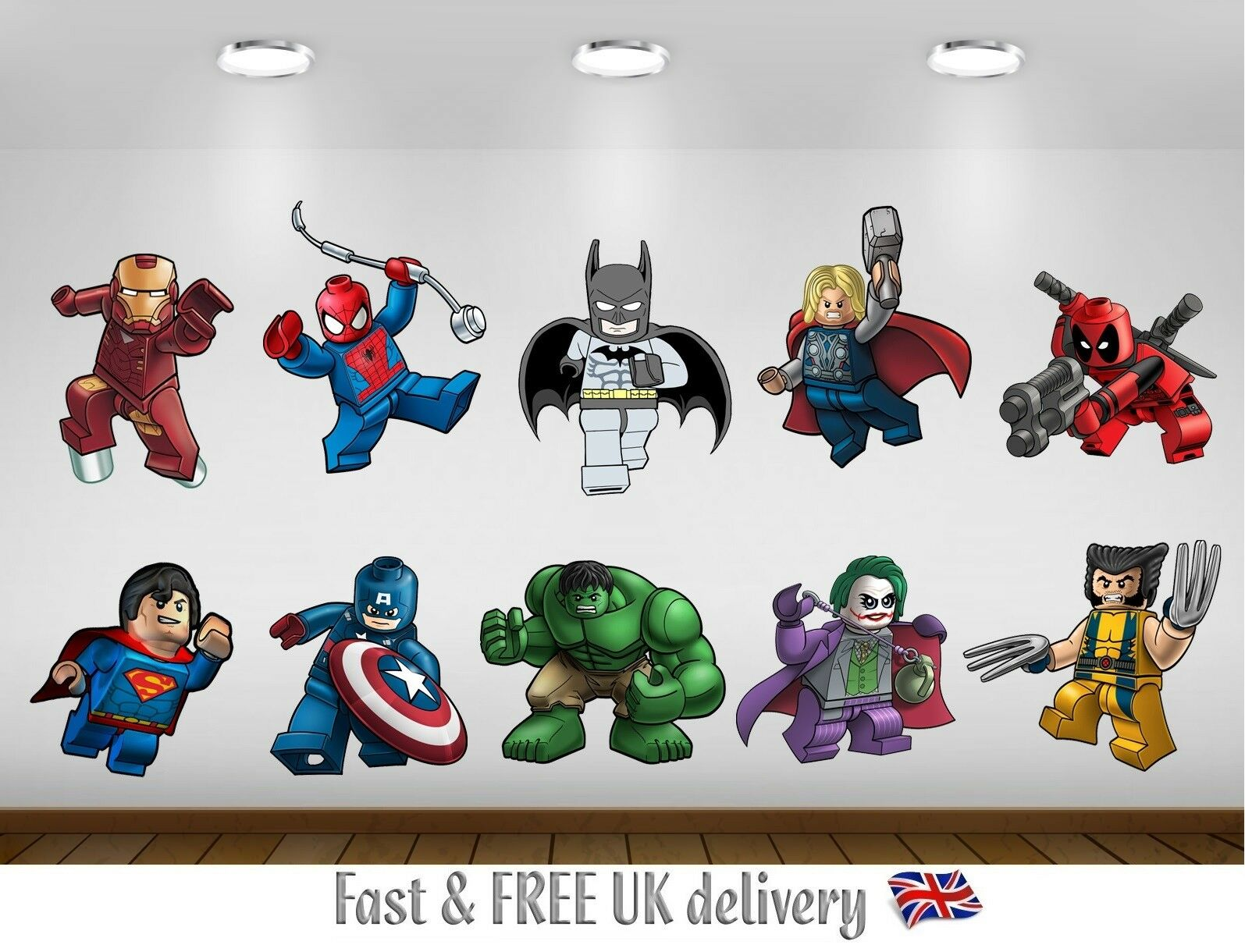 Home Decoration - Super Heroes Lego Marvel Kids Bedroom Vinyl Decal Wall Art Stickers - S2