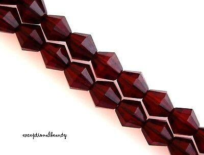 40 Deep Garnet Red Czech Fire Polished Glass Faceted 8mm Diamond Bicone Beads
