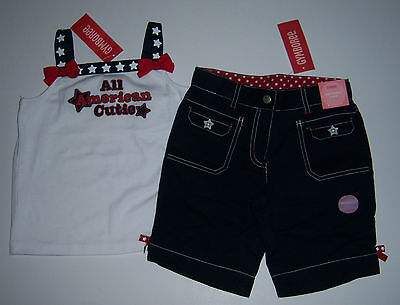 NWT Gymboree Red White & Blue 5 5T 4th of July Bermuda Shorts & Flag Girl Top