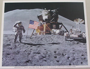 Vintage-NASA-8X10-Color-Photo-Apollo-15-Irwin-Salutes-Flag-Hadley-Apennine-Site