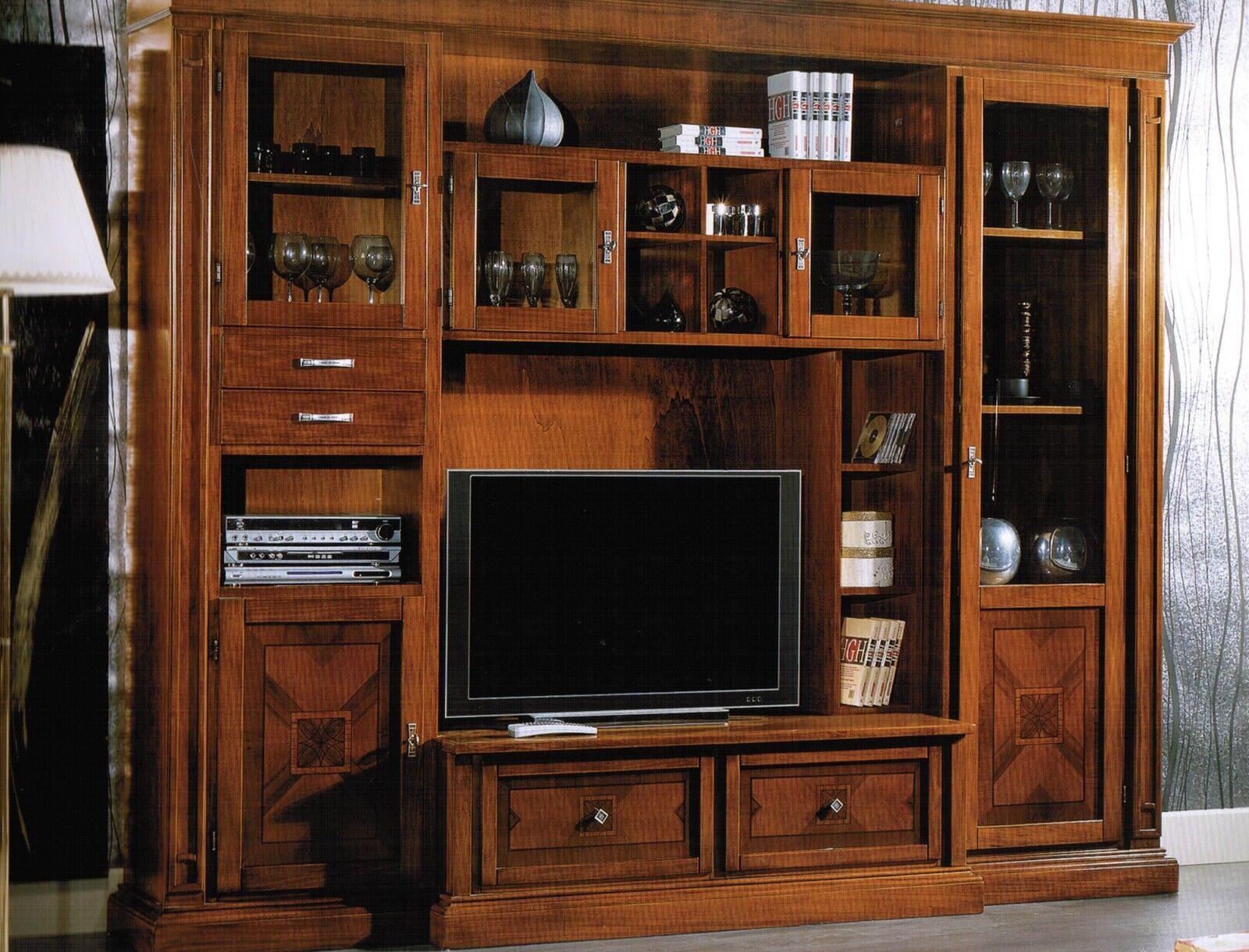 Parete attrezzata intarsiata classica soggiorno libreria - Parete soggiorno classica ...