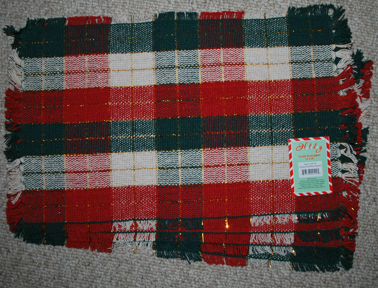 Set 4 Cotton Woven Placemats/ Christmas Plaid /red/green/cream