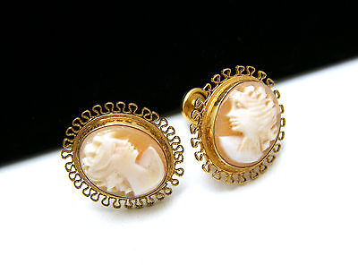 Vintage Carved Shell Cameo Earrings 12K Gold Filled Screw Backs CC Mark on Lookza