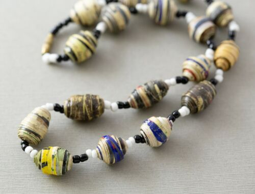 "Vintage Recycled Paper Bead Beaded Ethnic Boho Hippie 19"" Unisex Necklace"