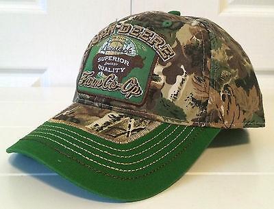 John Deere Farm Co Op Camouflage   Green Hat Cap W Contrast Stitching Snapback