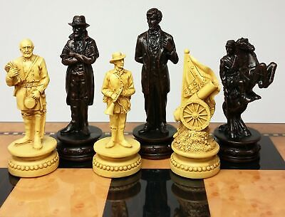 US American Civil War Generals Antiqued Set of Chess Men Pieces - NO BOARD American Civil War Chess Pieces