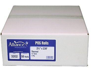 Alliance Thermal Paper Receipt Rolls 2 14 X 230 White 50 Rolls