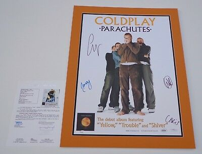 COLDPLAY X4 CHRIS MARTIN GUY JONNY & WILL SIGNED PARACHUTES 18X24 POSTER JSA LOA