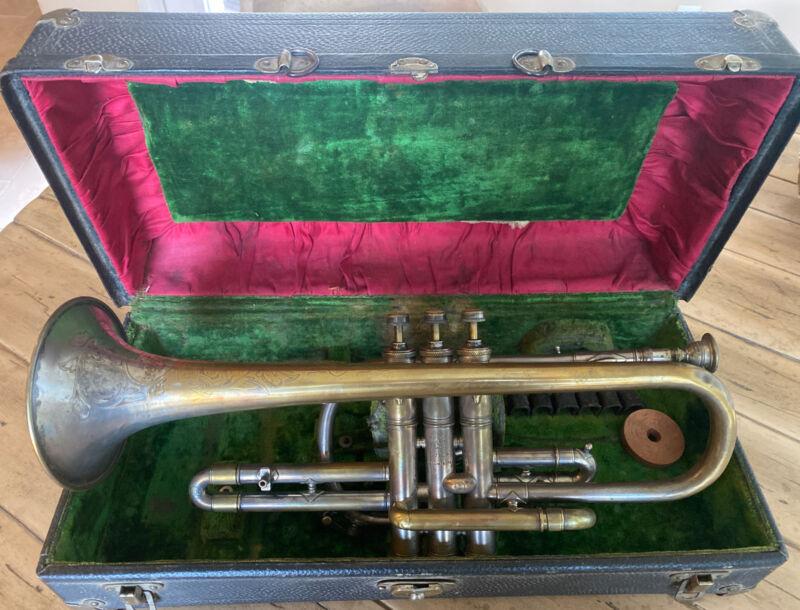 Early King H.N. White Cleveland Medium Bore Cornet Master SN #19964 + Hard Case