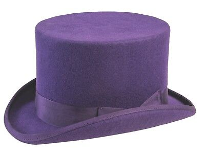 Super Deluxe PURPLE TOP HAT Magic Magician Pimp Adult Mad Hatter Willy Wonka Cap
