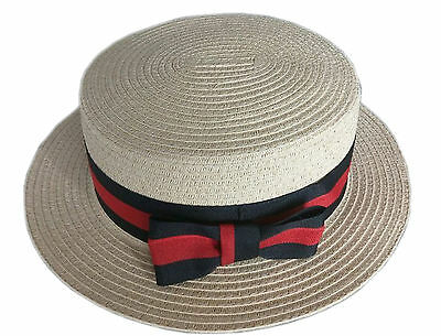 Tan Straw Skimmer Hat Boater Hat Victorian 1920s 30s 27041 (Victorian Mens Costumes)