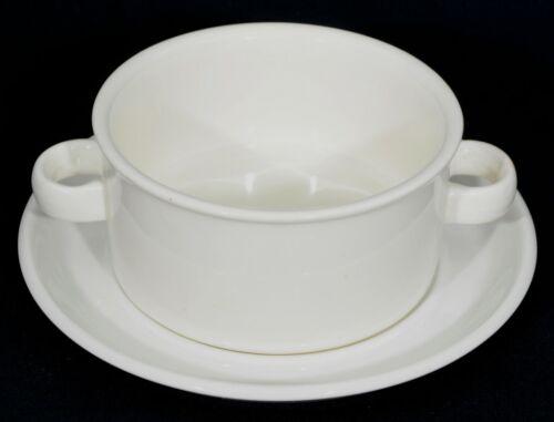 VERY RARE Midwinter Stonehenge Double-Handled Soup Bowl and Saucer Set EUC
