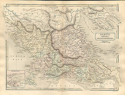 antient geography map by samuel butler 1869 - graecia extra peloponnesum