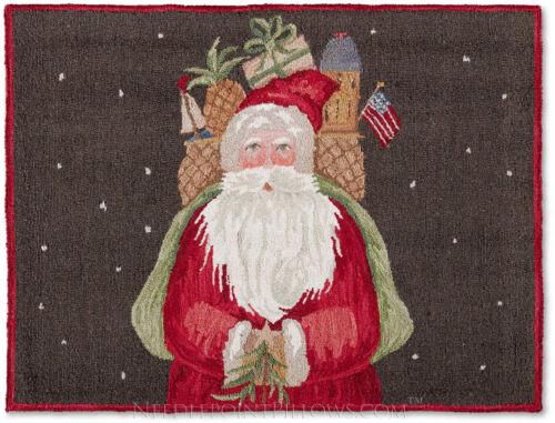 Hooked Williamsburg Decorative Holiday Classical Father Christmas Santa Rug