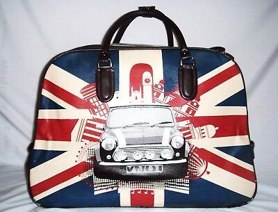 Mini Cabin Bag - MINI CAR UNION JACK WHEELED HOLDALL TROLLEY CABIN WEEKEND BAG HAND LUGGAGE