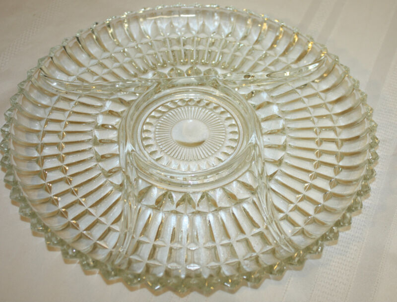 Vintage Retro Crystal Clear Pressed Glass Large Heavy Divided Serving Tray Dish