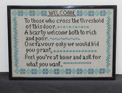 Vintage Black Framed Sampler Cross Stitch Picture : Welcome House Friends Home