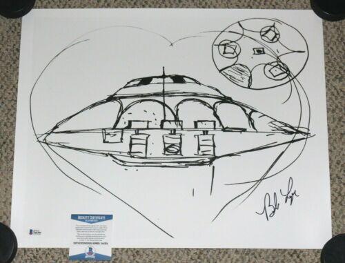 BOB LAZAR SIGNED POSTER SPORT MODEL UFO AREA 51 FLYING SAUCER PRINT BECKETT COA