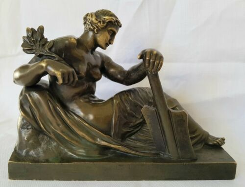 Antique Bronze Nude Naked Female Figure Goddess Seated Museum Quality Sculpture