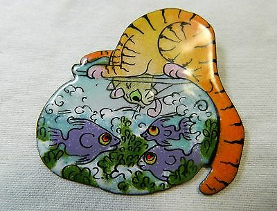 Cat Kitty Orange Tabby w/ Head in a Fishbowl Handpainted Signed Lacquer Pin