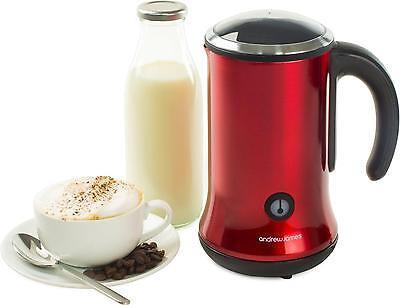 Andrew James Red Electric Hot + Cold Milk Frother Warmer Foamer Latte Foam Maker