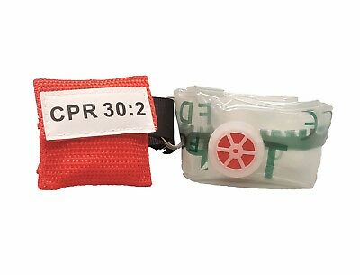 1 Red Cpr Keychain Mask Face Pocket Shield With Gloves