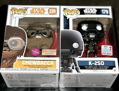 Funko POP Star Wars #239 Chewbacca Flocked BoxLunch K-2SO #179 Exclusives