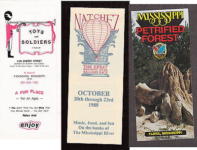 Vintage Pamphlet Lot MS - VICKSBURG Toy Musem NATCHEZ Balloon Race PETRIFIED FST