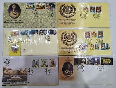 Malaysia Installation of Sultan, Agong FDC 6pcs Ipoh, KL, KT Cancellation