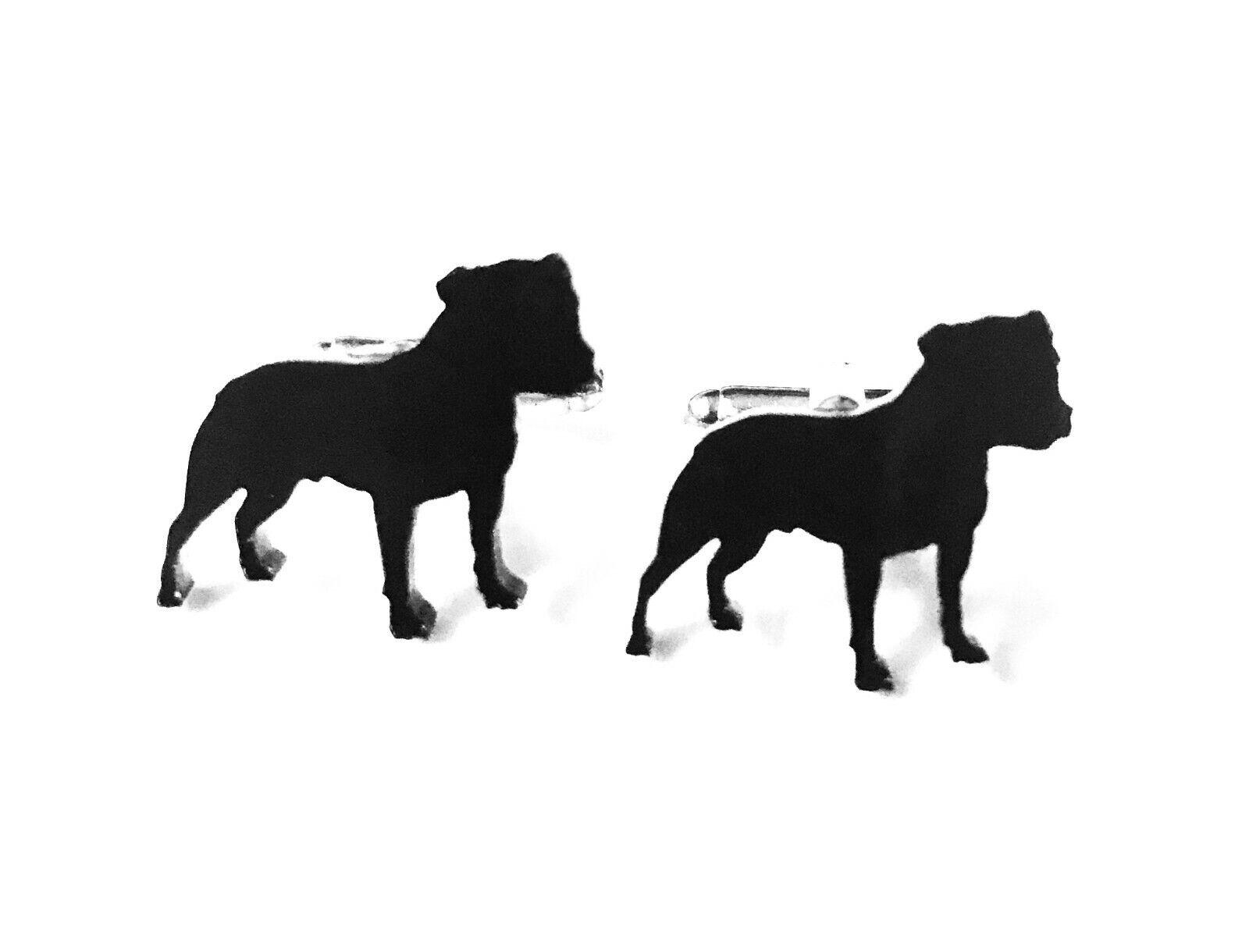 Staffordshire bull terrier chien boutons manchette hommes nouveauté chemise noir