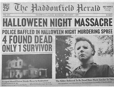 1978 Halloween Haddonfield Herald Halloween Night Massacre > Michael Myers 🔪🎃