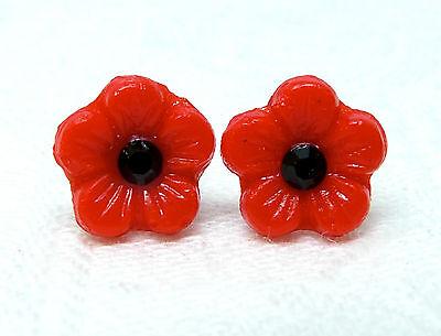 Vintage 1940s red Czech glass Poppy flower bead & black Swarovski stud earrings