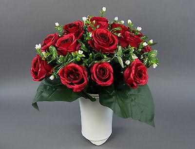 Großer Rosenstrauß 45x45cm rot LM Seidenblumen künstliche Rosen Kunstblumen