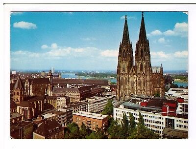 Postcard: General view of  Cologne Cathedral and Rhine, Germany