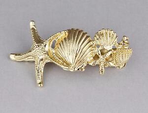 Gold Starfish shell barrette metal hair clip barrette hair sea shells conch