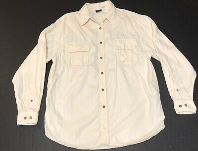 The North Face Long Sleeve Button Down Shirt Men's LG 100% Nylon Cream Tan H41