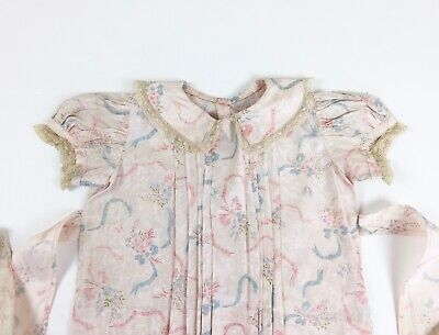 Vintage1930s 1940s Girls Baby Toddler Dress Taffeta Moire Ribbon Lace -