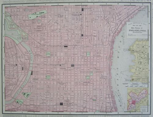 1895 dated PHILADELPHIA, PA  PENNSYLVANIA MAP. Railroads Genuine 19th Century