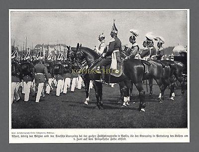 Große Frühjahrsparade in Berlin Tempelhof Albert I. König v. Belgien 1910