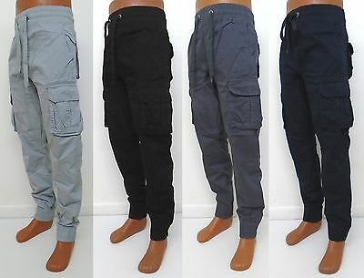 Mens Amex Grey Black Charcoal Navy Cargo Lightweight Joggers Pants Ax 1477P