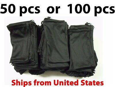 50 or 100 Black Micro Fiber Sunglasses Carrying Pouch Soft Case Glasses Bag (Glasses Carrying Case)