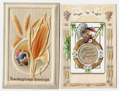 2 Embossed Thanksgiving Postcards:tiny card in center opens up Opalescent accent