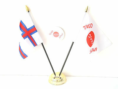 Faroe Islands & Tokyo Japan Olympics 2020 Desk Flags & 59mm BadgeSet