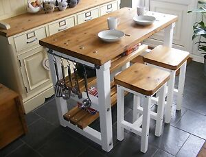 Rustic Kitchen Island Breakfast Bar Work Bench Butchers Block with 2 Stools