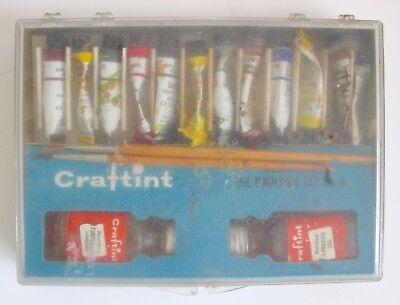Vintage Craftint Beginners Oil Painting Set No. 9 Book Box Paint Brush Paints for sale  Shipping to India