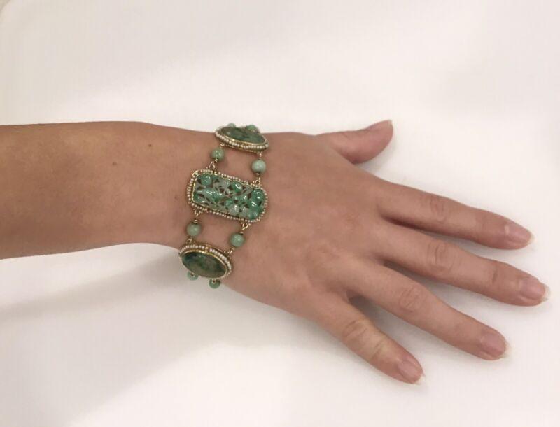 "Antique 14kt Gold Hand Carved Jade and Seed Pearl 8"" Bracelet - 31.2 Grams"