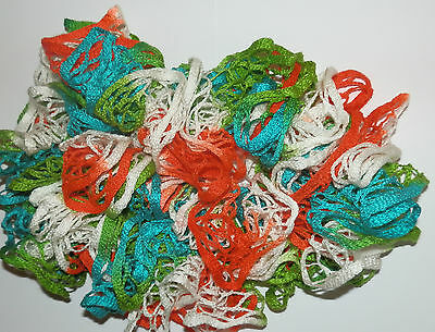 Fashion SPIRAL RUFFLE SCARF NEW Hand Made Orange/Green/White/Turquoise